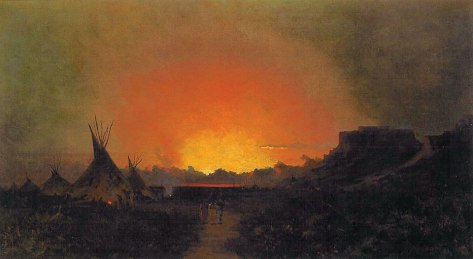 Jules Tavernier (1844-1889), A Sunset in Waioming [sic] 1889. Oil on canvas. 20 x 36 inches.