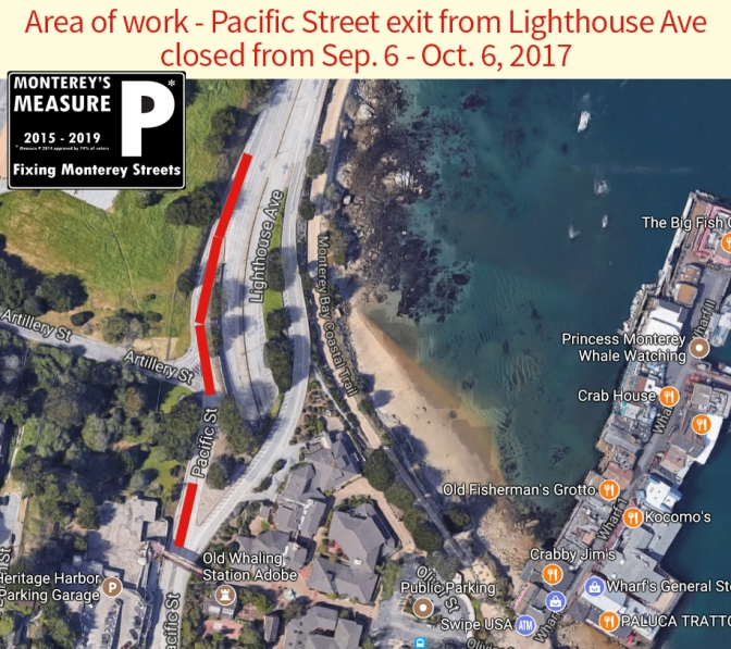 Pacific Street Exit from Lighthouse to Close  September 6th through October 6th