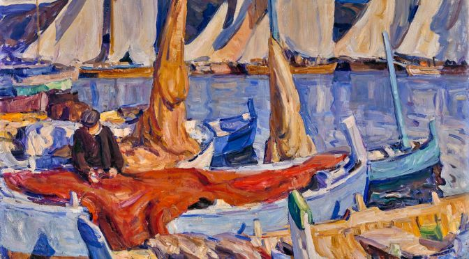 E. Charlton Fortune. Drying Sails, 1926, oil on canvas